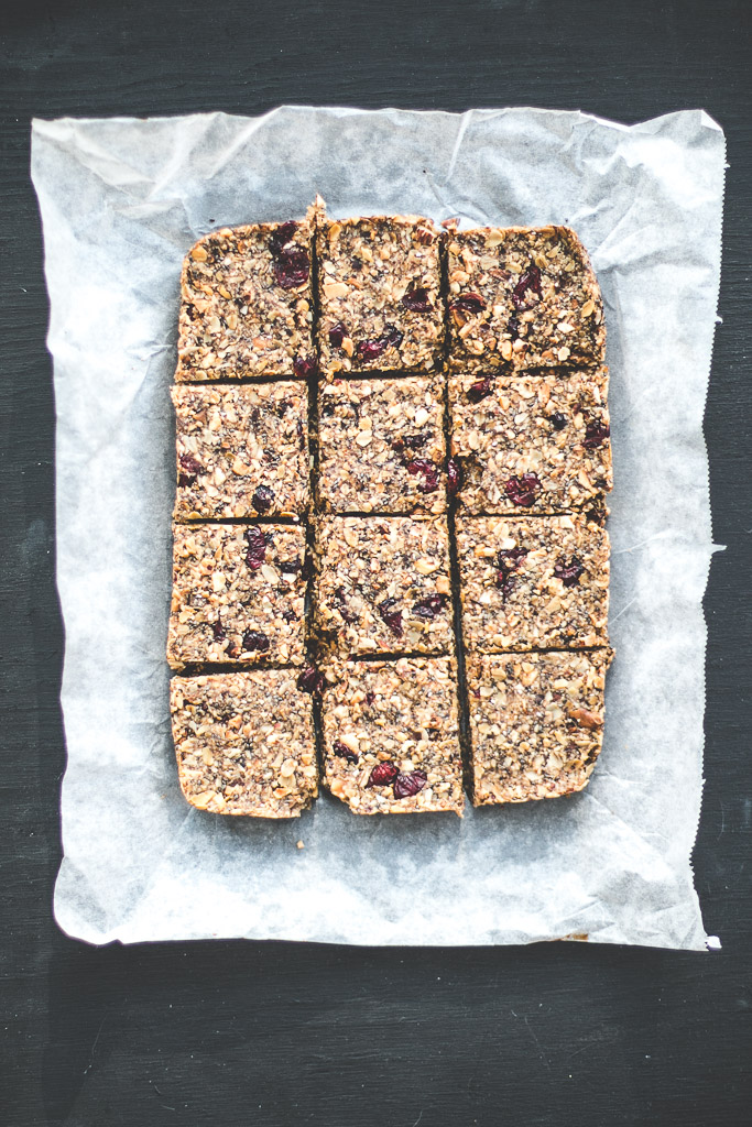 Date Sweetened Cranberry Granola Bars | Baking Magique